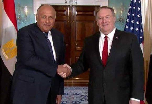 وزير الخارجية المصرى ونظيره الأمريكى يناقشان الأزمة الليبية وملف سد النهضة