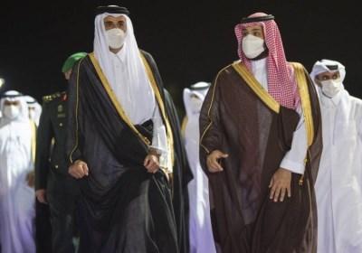 ولي العهد السعودي الأمير محمد بن سلمان وأمير دولة قطر يعقدان جلسة مباحثات